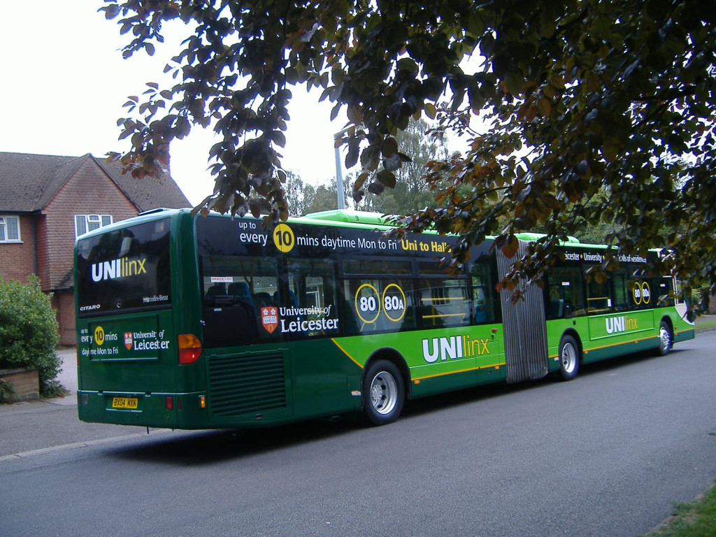 2 University of Leicester bendy bus